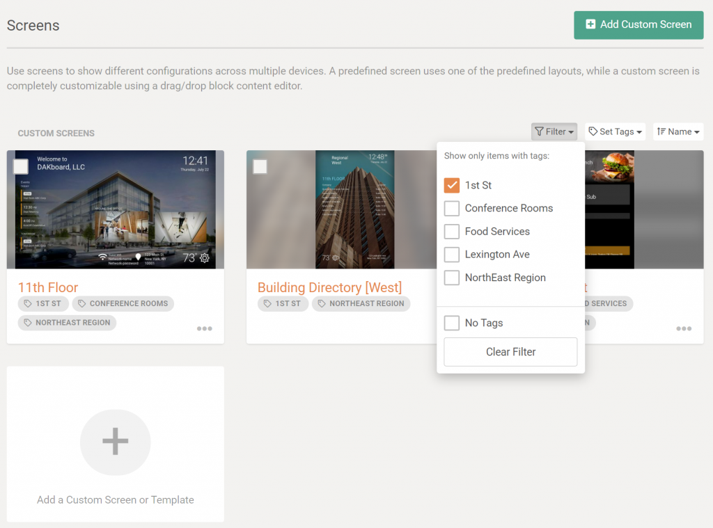 Example Image of filter DAKboard screens listing by custom tags