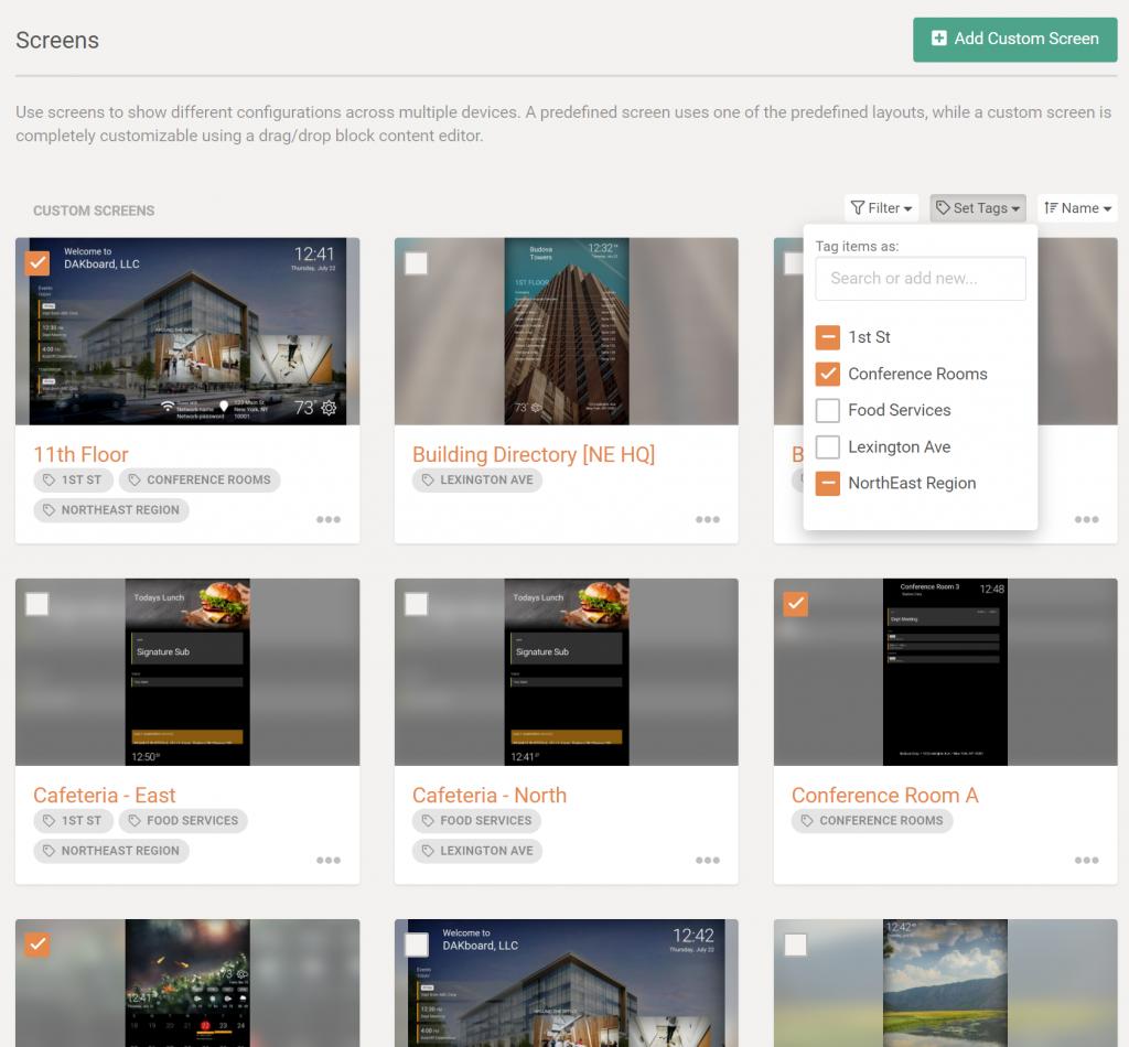 Example Image of setting custom tags on DAKboard screens